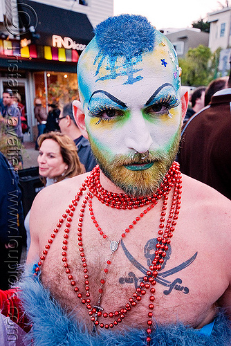 the sisters of perpetual indulgence - nun - easter sunday in san francisco, drag, easter, makeup, man, nun, pirate tattoo, sisters of perpetual indulgence