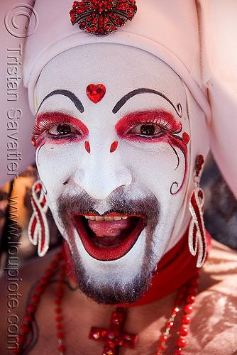 sisters of perpetual indulgence - sister erotica psychotica, bindis, folsom street fair, makeup, man, nuns, red, sisters of perpetual indulgence, white
