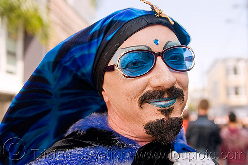sisters of perpetual indulgence - sister hellen wheels, bindis, blue, dore alley fair, drag, makeup, man, people, sunglasses