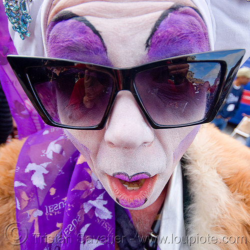 sisters of perpetual indulgence - sister zsa zsa glamour, dore alley fair, drag, makeup, man, people, purple, sunglasses