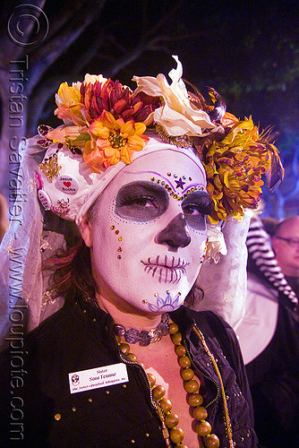 sisters of perpetual indulgence - white skull makeup - dia de los muertos - halloween (san francisco), day of the dead, dia de los muertos, face painting, facepaint, halloween, makeup, man, night, nuns, sisters of perpetual indulgence