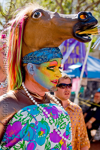 sisters or pertual indusgence - horse head headdress, face painting, facepaint, gay pride festival, headdress, headwear, horse head, makeup, man, sisters of perpetual indulgence