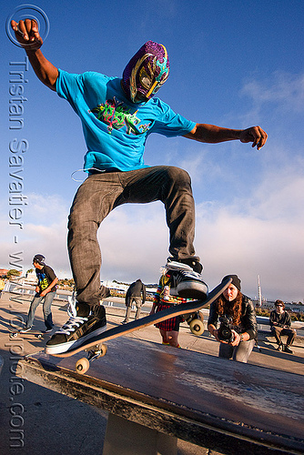 skateboarder, islais creek promenade, man, skateboard wheelie, skateboarder, skateboarding trick, superhero street fair, wrestler mask