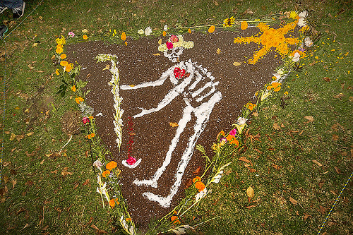 skeleton drawing - dia de los muertos, altar de muertos, day of the dead, dia de los muertos, drawing, earth, ground, halloween, memorial, night, orange flowers, orange marigold, salt, skeleton, triangle