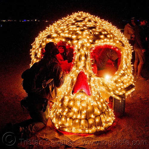 skull art car - front - burning man 2009, night, skull art car