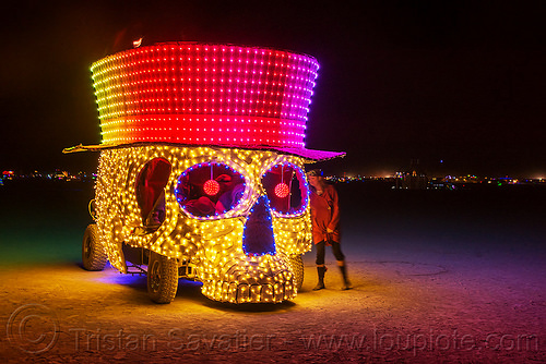 skull art car - numbskull - burning man 2016, burning man, glowing, hat, mutant vehicles, night, numbskull, skull art car