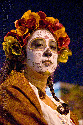skull face paint - dia de los muertos - halloween (san francisco), day of the dead, dia de los muertos, face painting, facepaint, flowers, halloween, headdress, night, sugar skull makeup, woman