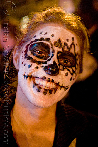 skull face paint - dia de los muertos - halloween (san francisco), day of the dead, dia de los muertos, face painting, facepaint, halloween, night, sugar skull makeup, woman