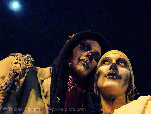skull makeup - couple under the full moon - dia de los muertos - halloween (san francisco), airbrush stencil, costumes, couple, day of the dead, dia de los muertos, face painting, facepaint, full moon, halloween, night, people, sugar skull makeup, the mission