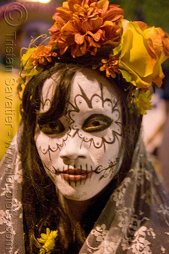skull makeup - dia de los muertos - halloween (san francisco), day of the dead, dia de los muertos, face painting, facepaint, flowers, halloween, headdress, night, sugar skull makeup, woman
