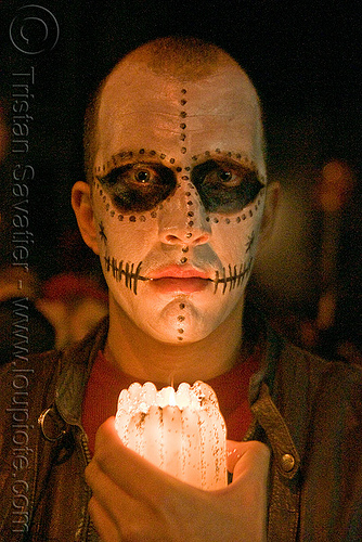 skull makeup - dia de los muertos - halloween (san francisco), candle, day of the dead, dia de los muertos, face painting, facepaint, halloween, man, night, sugar skull makeup