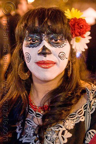skull makeup - dia de los muertos - halloween (san francisco), day of the dead, face painting, facepaint, flowers, night, people, sugar skull makeup, woman