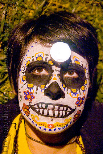 skull makeup - dia de los muertos - halloween (san francisco), candle, day of the dead, face painting, facepaint, night, people, sugar skull makeup, woman