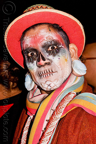 skull makeup - dia de los muertos - halloween (san francisco), airbrush, day of the dead, dia de los muertos, face painting, facepaint, halloween, man, night, red hat, stencil, sugar skull makeup