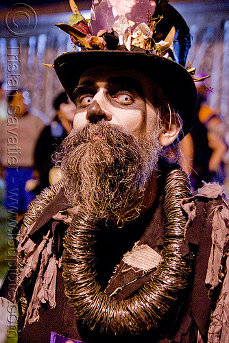 skull makeup - dia de los muertos - halloween (san francisco), beard, color contact lenses, contacts, day of the dead, dia de los muertos, face painting, facepaint, halloween, makeup, man, night, special effects contact lenses, steven raspa, stovepipe hat, theatrical contact lenses, white contact lenses