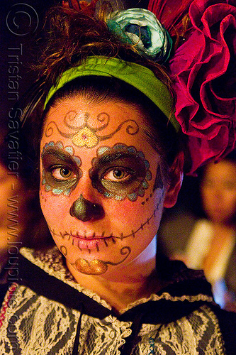 skull makeup - dia de los muertos - halloween (san francisco), day of the dead, dia de los muertos, face painting, facepaint, halloween, headband, headdress, lace, night, sugar skull makeup, woman