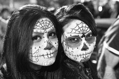 skull makeup - dia de los muertos - halloween (san francisco), bindis, day of the dead, dia de los muertos, face painting, facepaint, halloween, night, sugar skull makeup, two, women