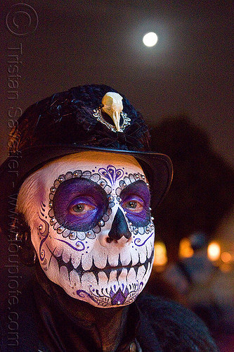 skull makeup - dia de los muertos - halloween (san francisco), bird skull, day of the dead, dia de los muertos, face painting, facepaint, halloween, hat, man, moon, night, sugar skull makeup