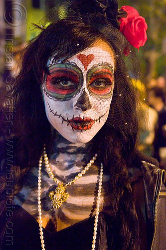 skull makeup - dia de los muertos - halloween (san francisco), day of the dead, dia de los muertos, face painting, facepaint, halloween, hat, headdress, night, sugar skull makeup, woman