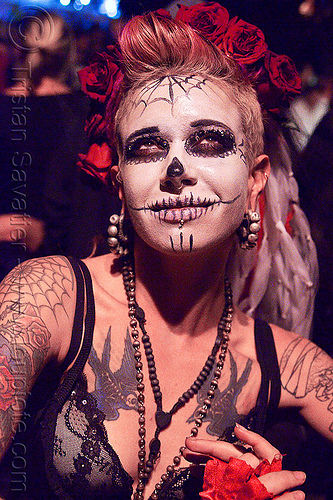 skull makeup - dia de los muertos - halloween (san francisco), bird tattoo, birds tattoo, day of the dead, face painting, facepaint, night, people, sugar skull makeup, tattooed, tattoos, woman