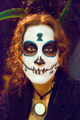 skull makeup - dia de los muertos - halloween (san francisco), day of the dead, dia de los muertos, face painting, facepaint, halloween, makeup, night, woman