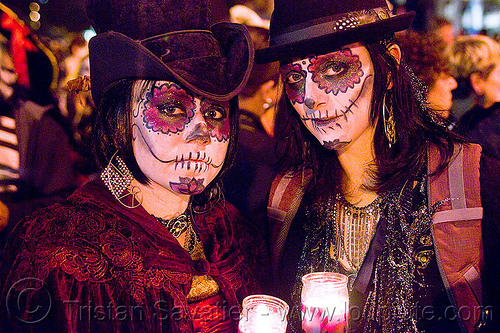 skull makeup - dia de los muertos - halloween (san francisco), candles, day of the dead, dia de los muertos, face painting, facepaint, halloween, hats, night, sugar skull makeup, women