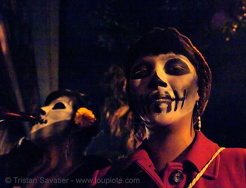 skull makeup - skull face paint - dia de los muertos - halloween (san francisco), costumes, day of the dead, dia de los muertos, face painting, facepaint, halloween, low-key, makeup, night, the mission