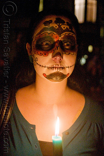 skull makeup - green candle - dia de los muertos - halloween (san francisco), day of the dead, face painting, facepaint, night, people, sugar skull makeup, woman