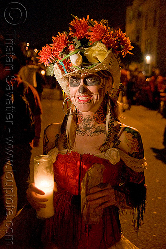 skull makeup - hat with flowers - dia de los muertos - halloween (san francisco), candle, day of the dead, dia de los muertos, face painting, facepaint, halloween, hat, headdress, makeup, night, red flowers, woman