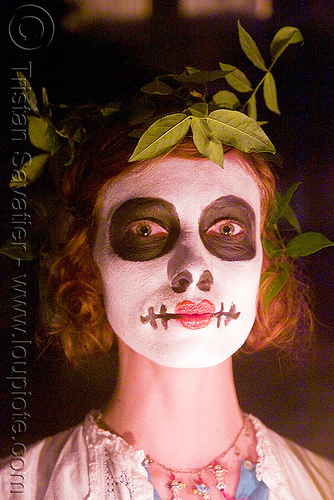 skull makeup - leaves in hair - dia de los muertos - halloween (san francisco), day of the dead, dia de los muertos, face painting, facepaint, halloween, makeup, night, woman