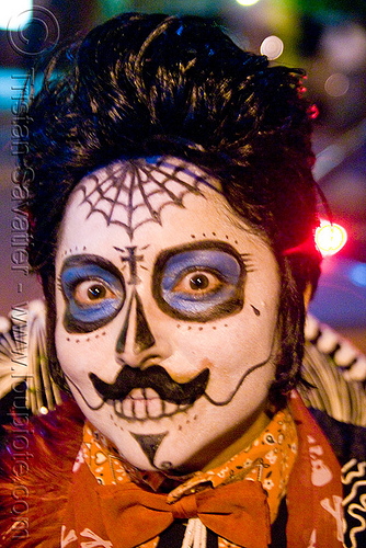 skull makeup - mariachi - dia de los muertos - halloween (san francisco), day of the dead, dia de los muertos, face painting, facepaint, halloween, mariachi, mexican, moustaches, mustache, night, sugar skull makeup, woman