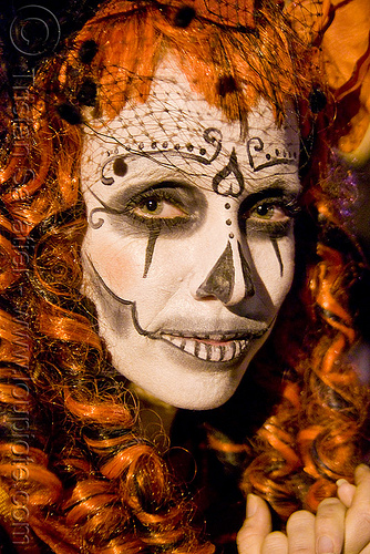 skull makeup - redhead - dia de los muertos - halloween (san francisco), day of the dead, dia de los muertos, face painting, facepaint, halloween, night, sugar skull makeup, woman