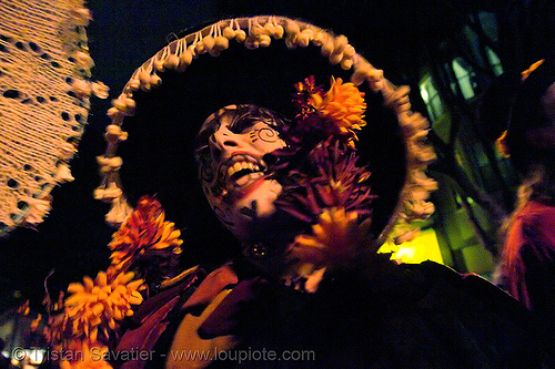 skull makeup - woman with round hat - dia de los muertos - halloween (san francisco), costumes, day of the dead, dia de los muertos, face painting, facepaint, flowers, halloween, hat, night, sugar skull makeup, the mission, woman