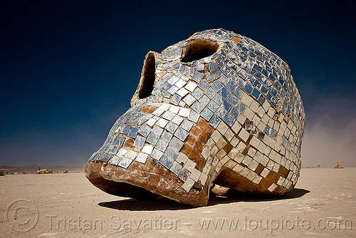 skull with mirror mosaic, burning man, disco, mexican skull, mirror mosaic, mirrors