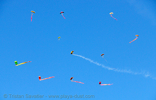skydivers eels in the sky - burning man 2007, burning man, burning sky, eels, flare, parachutes, parachutists, skydivers, skydiving, smoke, smoking