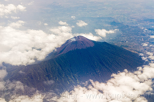 slamet volcano (java, indonesia), aerial photo, clouds, java, mountain, slamet, stratovolcano, volcanic cone, volcano