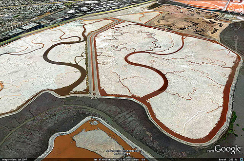 slough - san francisco bay - google-earth capture, aerial photo, google earth, raveswood slough, salt marshes, san francisco bay, satellite photo, sf bay, sfba, slew