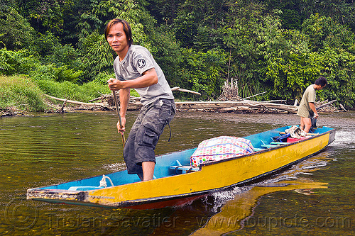 small boat on river, boat, boatman, boatmen, borneo, gunung mulu national park, malaysia, melinau river, men, sungai melinau