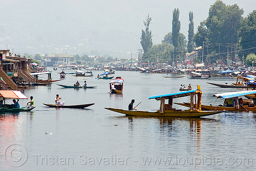 small boats on the lake - srinagar - kashmir, india, kashmir, lake, river boats, rowing boats, small boats, srinagar, taxi-boats, سِرېنَگَر, شرینگر, श्रीनगर