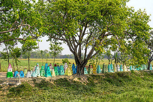 small cenotaphs - hindu memorial monuments (india), cenotaphs, colorful, hand pump, hinduism, india, painted, row, tree, water pump