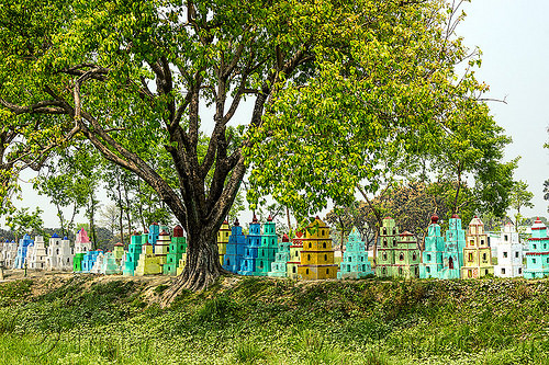 small cenotaphs - memorial monuments (india), cenotaphs, colorful, hinduism, india, painted, row, tree