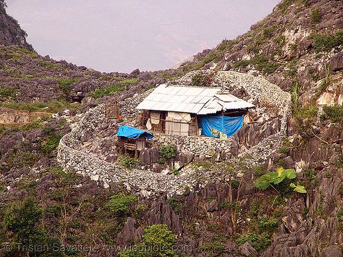 small country house - stone perimeter wall - vietnam, farm, karst, karstic, mountains, rugged, small house, stone wall