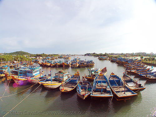 small fishing boats moored - phan thiet - vietnam, colorful, estuary, fisheye, phan thiet, river, small boats, small fishing boats, vietnam