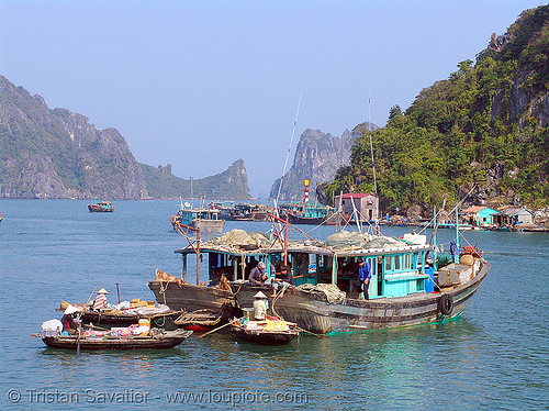 small fishing boats on halong bay - vietnam, islands, people, sea