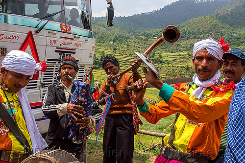 small indian marching band playing at a village wedding, bagpipe, dancing, drum, headdress, india, indian wedding, marching band, men, musicians, playing music, sword, tola gunth, turban