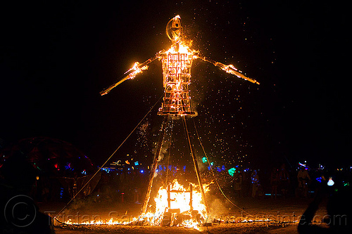 small man effigy burning - burning man 2013, art installation, burning man, effigy, fire, flames, night, sculpture, unidentified art