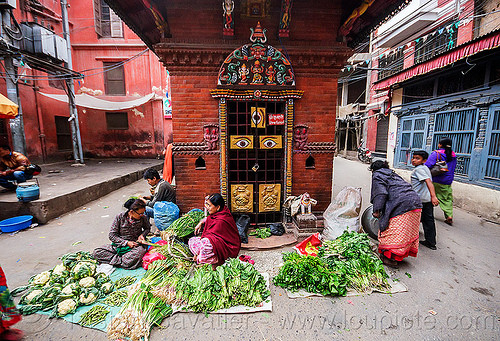 small street farmers market in kathmandu (nepal), farmers market, hindu temple, hinduism, kathmandu, street, three eyes, vendor, women