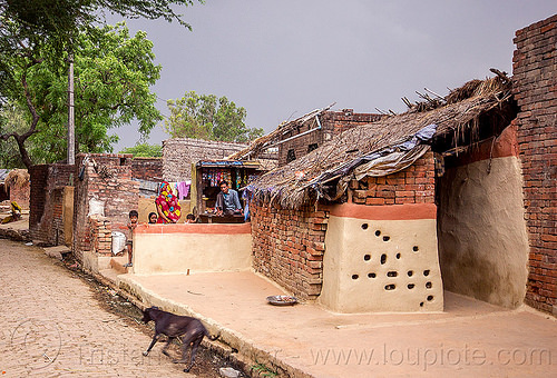 small structure of brick and adobe (india), adobe floor, earthen floor, house, khoaja phool, street, village, खोअजा फूल