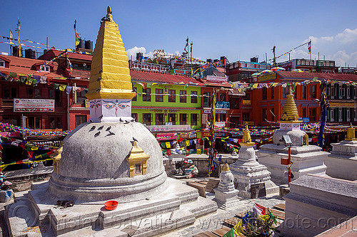 small stupas at bodnath - kathmandu (nepal), bodnath stupa, boudhanath, buddhism