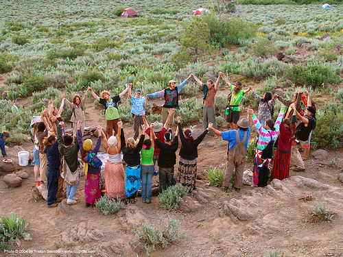 small-supper-circle - rainbow gathering - hippie, circle, hippies, holding hands, rainbow family, rainbow gathering
